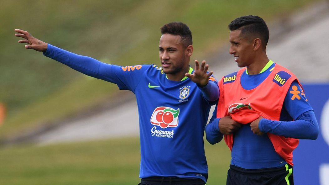 Marquinhos et Neymar avec le maillot du Brésil