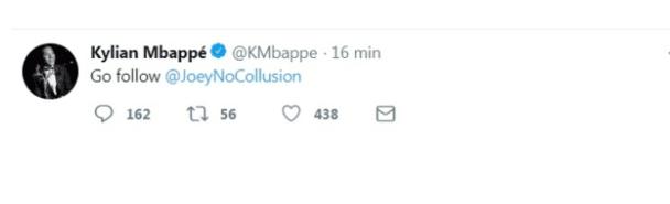 message mbappé twitter